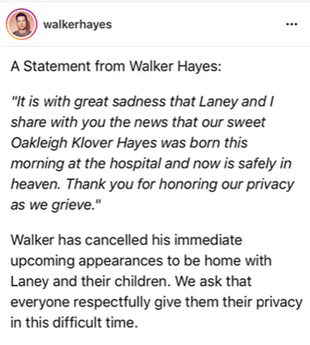 Walker Hayes Statement